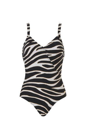 badpak met zebraprint zwart/wit