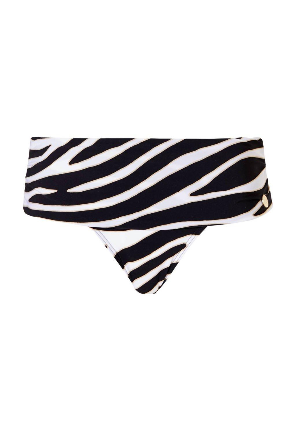 TC WOW omslag bikinibroekje met zebraprint zwart/wit, Zwart/wit