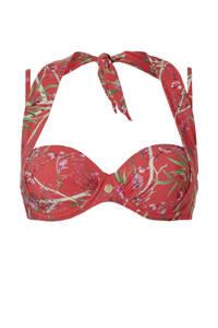 TC WOW gebloemde strapless beugel bikinitop rood/groen, Rood/groen