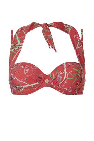 gebloemde strapless beugel bikinitop rood/groen