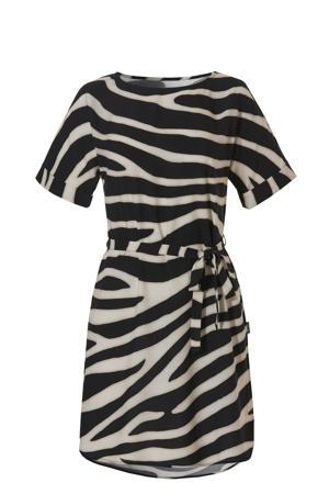strandtuniek met zebraprint zwart/wit