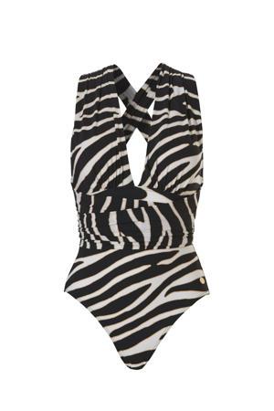 laag uitgesneden badpak met zebraprint zwart/wit
