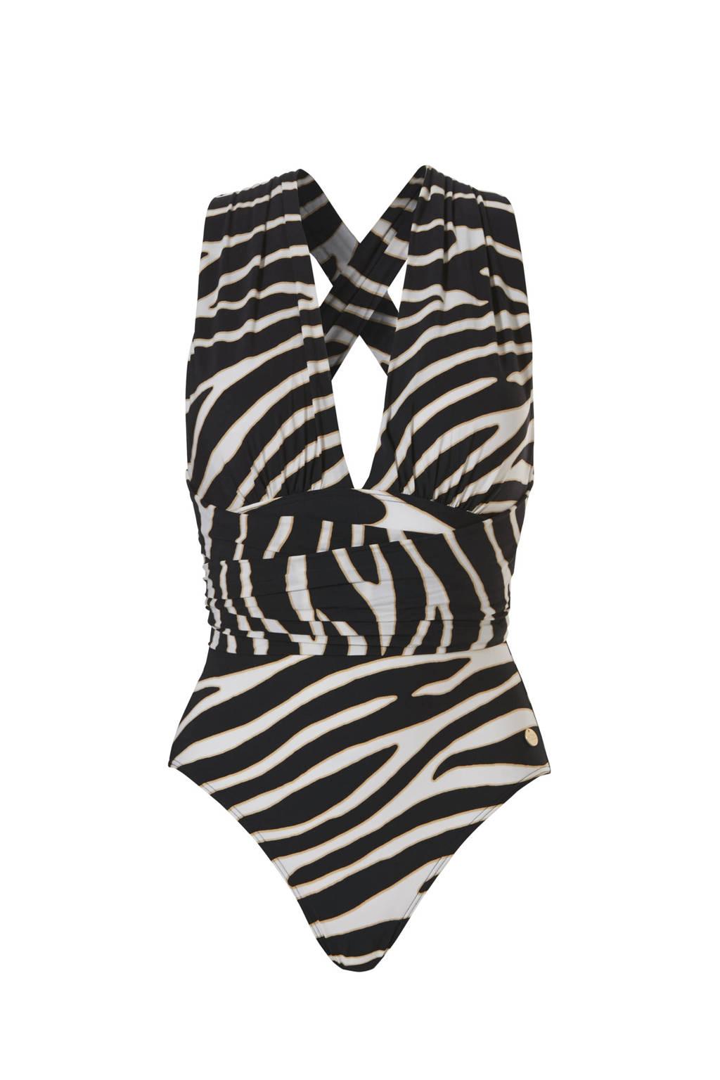 TC WOW multiway badpak met zebraprint zwart/wit, Zwart/wit