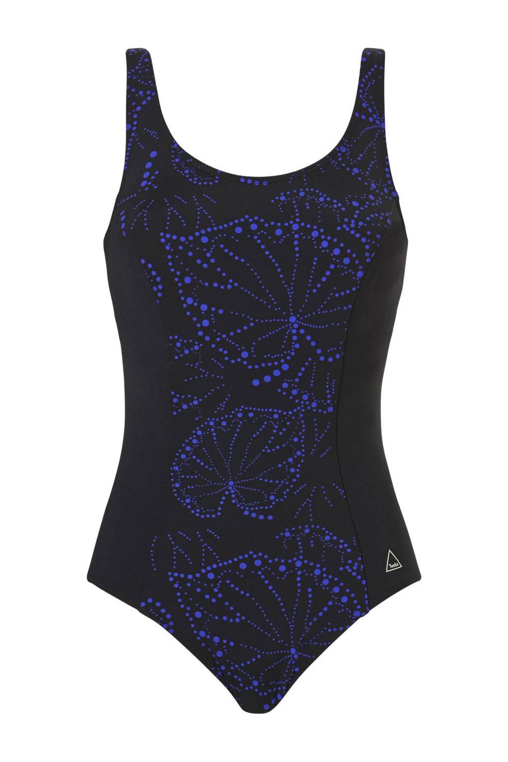 Tweka corrigerend badpak met all over print zwart/blauw, Zwart/blauw