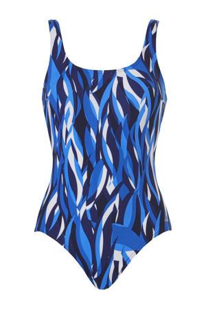 badpak met all over print blauw/wit