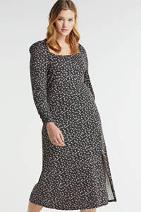 Simply Be jurk met all over print en ruches zwart/wit/lichtroze, Zwart/wit/lichtroze