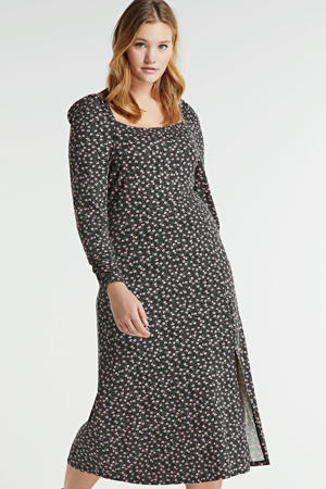 jurk met all over print en ruches zwart/wit/lichtroze