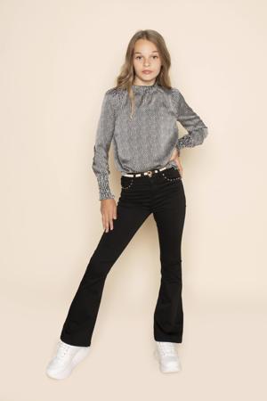 high waist flared broek Suzy met studs zwart