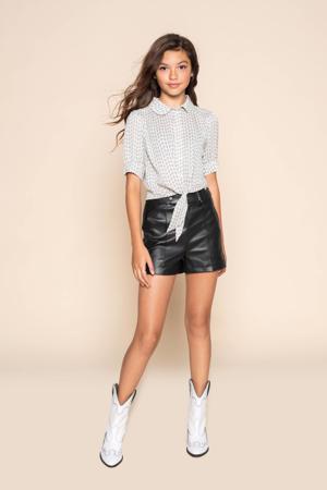 blouse Sanne met all over print offwhite/zwart