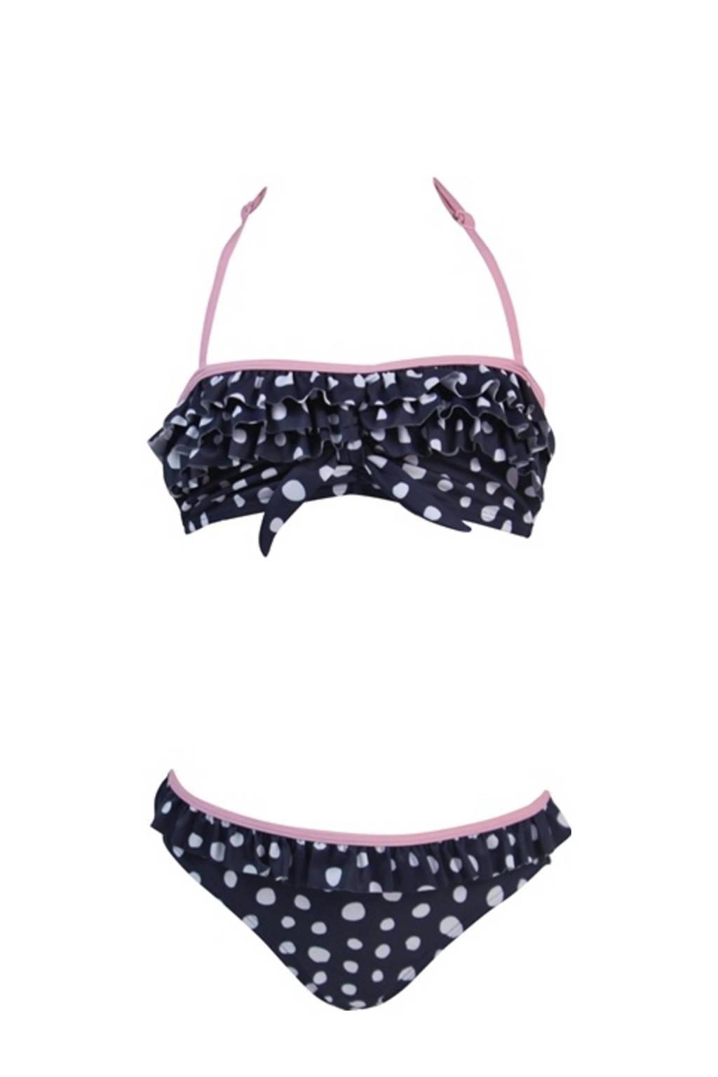 Lentiggini bandeau bikini Dots met all over print blauw/wit/roze, Blauw/wit/roze