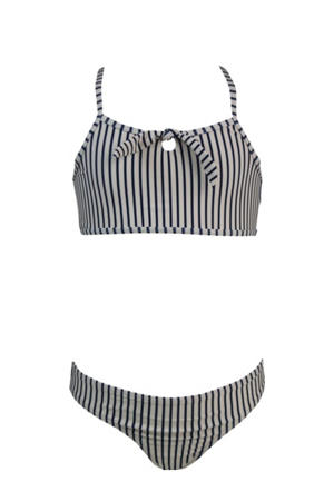 gestreepte crop bikini Stripes & Dots blauw/beige