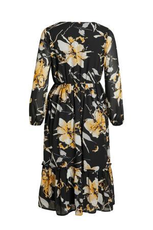 jurk OBJTIANNA met all over print zwart