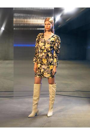 jurk OBJPOWER met all over print geel