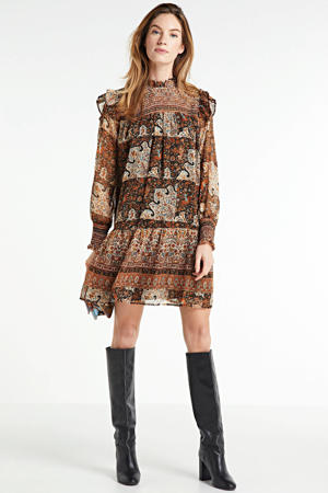 blousejurk met all over print zalm