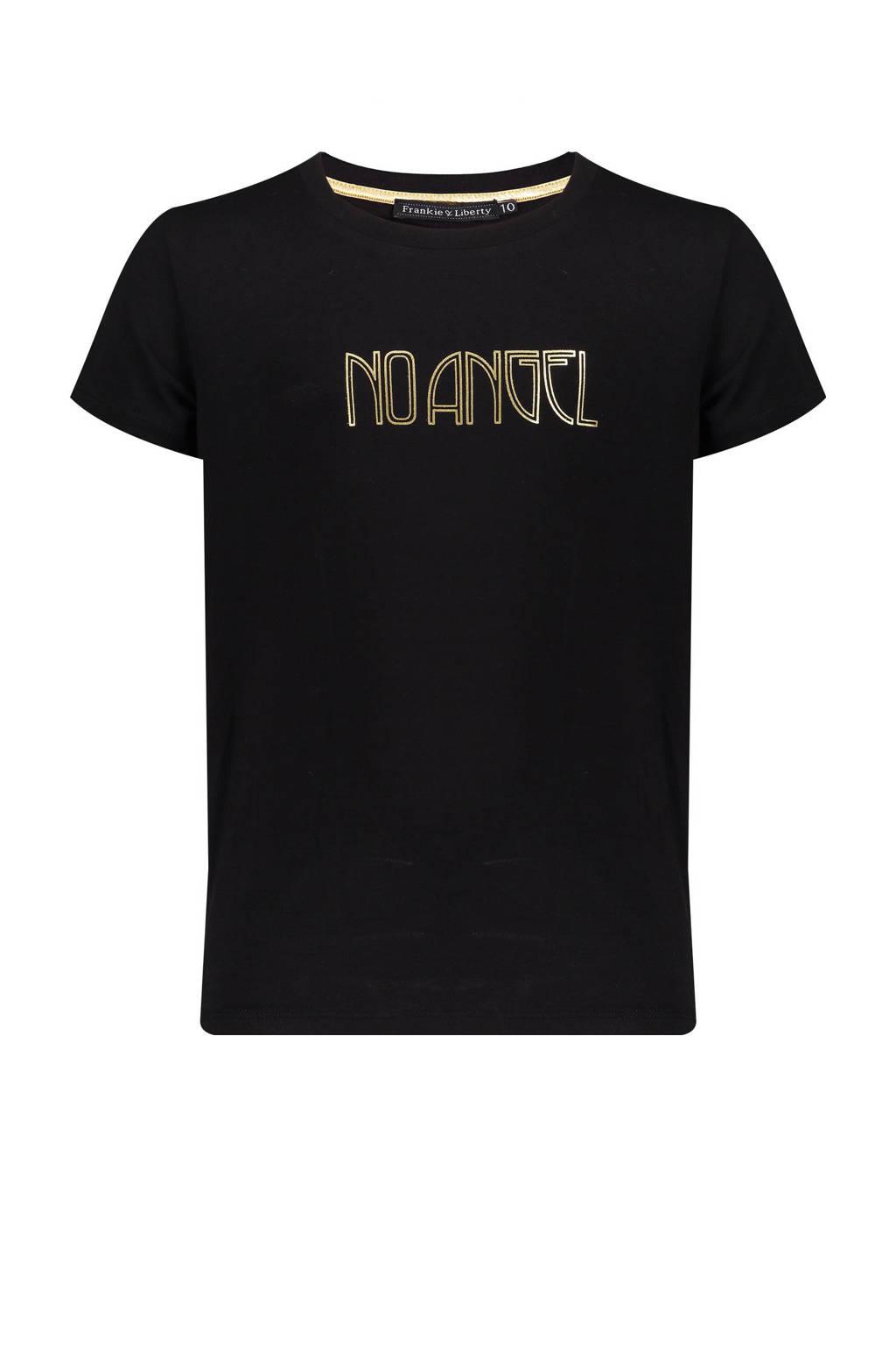 Frankie&Liberty T-shirt Stine met printopdruk zwart/goud, Zwart/goud