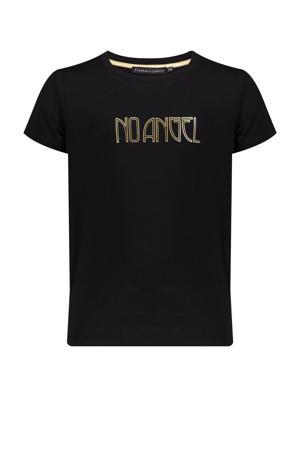 T-shirt Stine met printopdruk zwart/goud