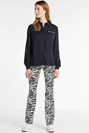 blouse met logo en borduursels zwart