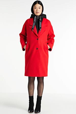 coat met wol rood