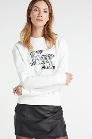 sweater met printopdruk gebroken wit