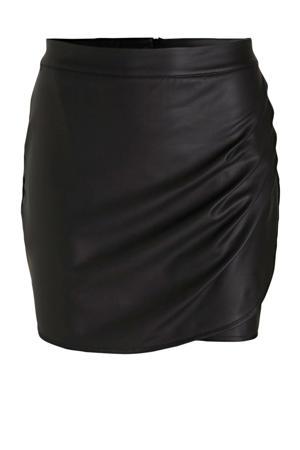 imitatieleren rok met plooien zwart