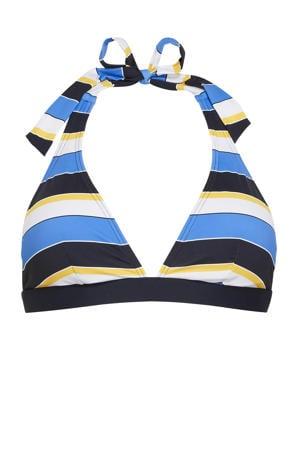 gestreepte halter bikinitop Brendon donkerblauw/blauw/wit