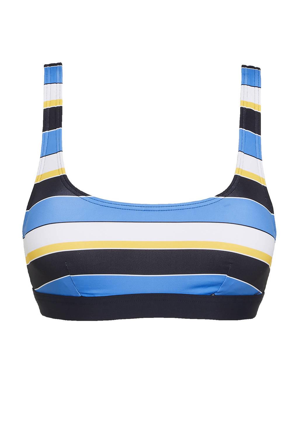 ESPRIT Women Beach gestreepte crop bikinitop Brendon donkerblauw/blauw/wit, Donkerblauw/blauw/wit