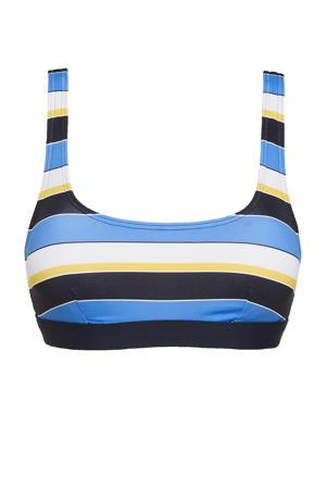 gestreepte crop bikinitop Brendon donkerblauw/blauw/wit