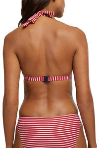 ESPRIT Women Beach gestreepte halter bikinitop rood/wit, Rood/wit
