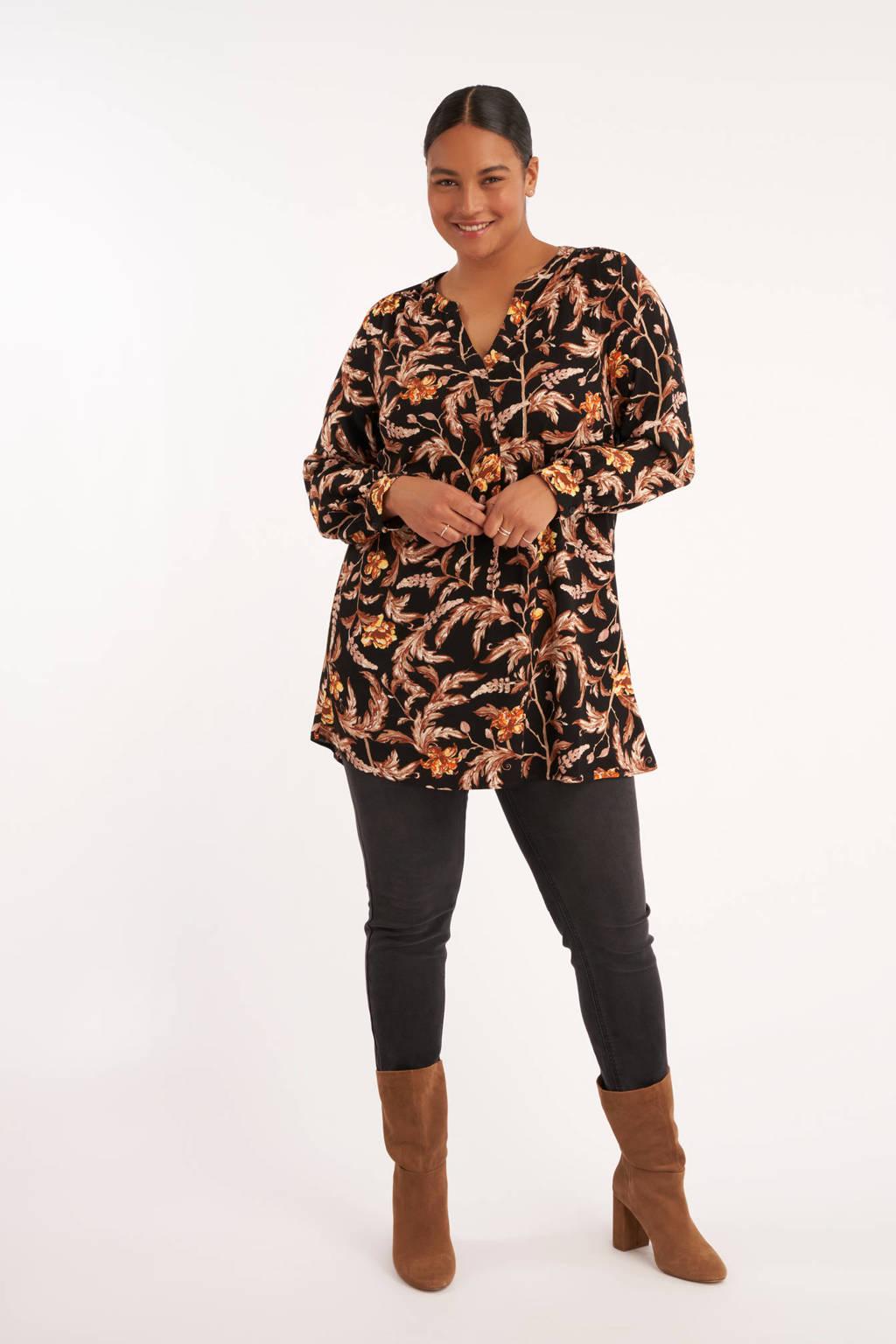 MS Mode tuniek met all over print en plooien zwart/lichtroze/geel, Zwart/lichtroze/geel