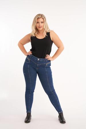 high waist slim fit jeans dark denim