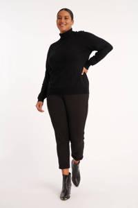 MS Mode cropped slim fit broek met zijstreep zwart, Zwart