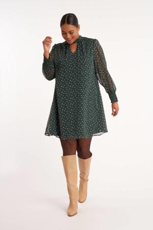 semi-transparante A-lijn jurk met all over print en open detail donkergroen/wit/bruin