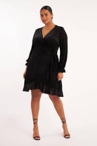 MS Mode wikkeljurk met panterprint en volant zwart, Zwart