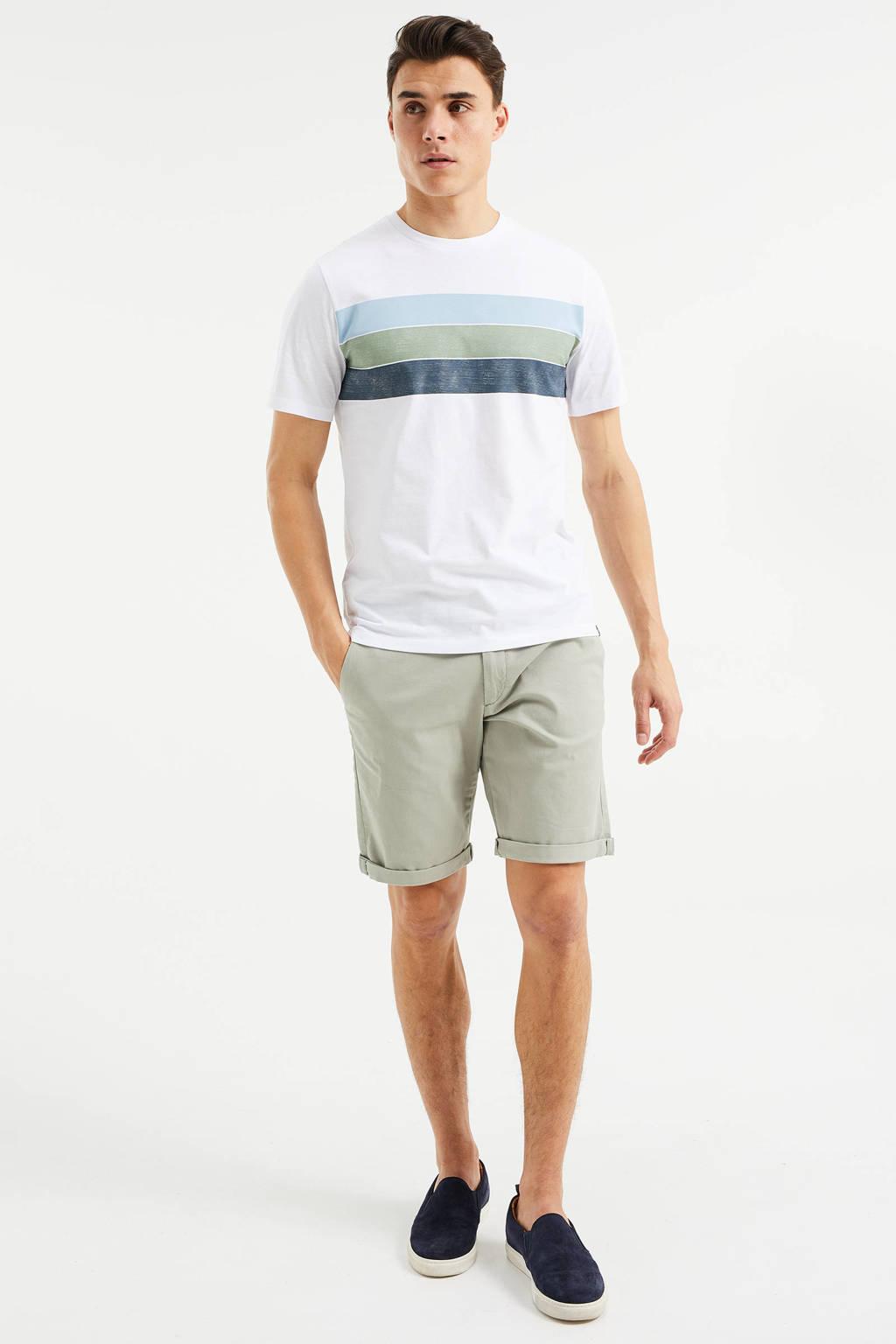 WE Fashion gestreept T-shirt white uni, White Uni