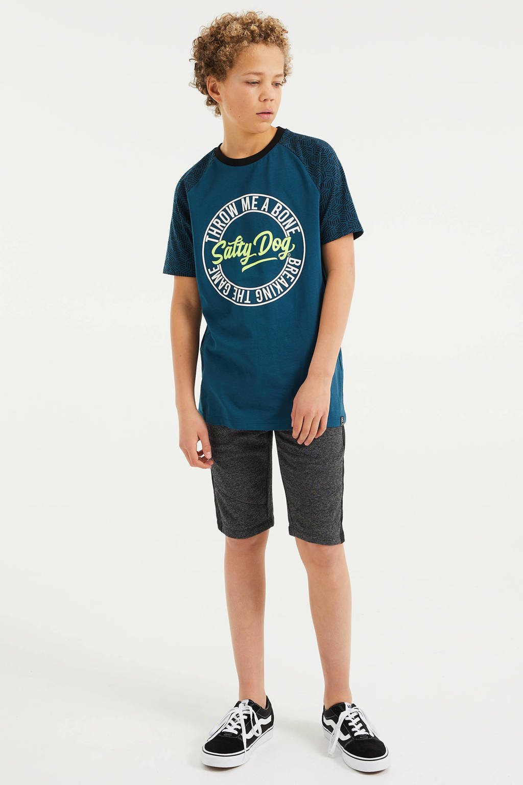 WE Fashion Salty Dog T-shirt met tekst petrol/groen/wit, Petrol/groen/wit