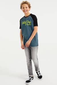 WE Fashion Salty Dog T-shirt met all over print grey petrol, Grey Petrol