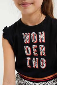 WE Fashion jurk met tekst en ruches zwart/wit/koraalrood, Zwart/wit/koraalrood