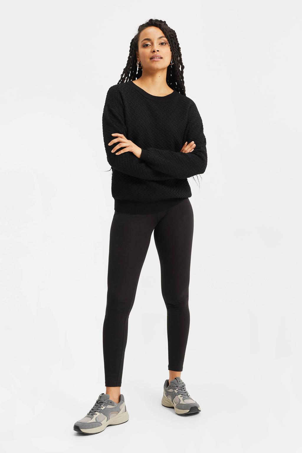WE Fashion legging met biologisch katoen zwart, Zwart