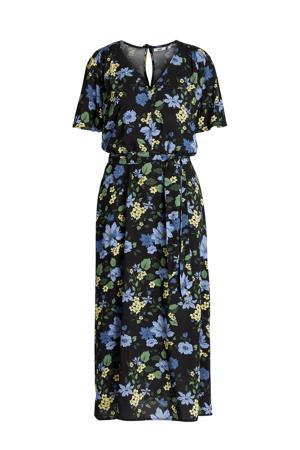 gebloemde semi-transparante maxi jurk zwart/blauw/groen