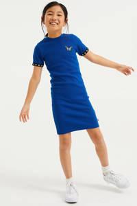 WE Fashion jurk met patches kobaltblauw, Kobaltblauw