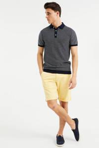 WE Fashion gestreepte fijngebreide slim fit polo met contrastbies heavy blue, Heavy Blue