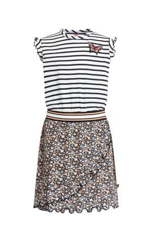 jurk met all over print en patches zwart/wit/oranje