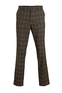 C&A Angelo Litrico geruite slim fit pantalon donkerbruin, Donkerbruin
