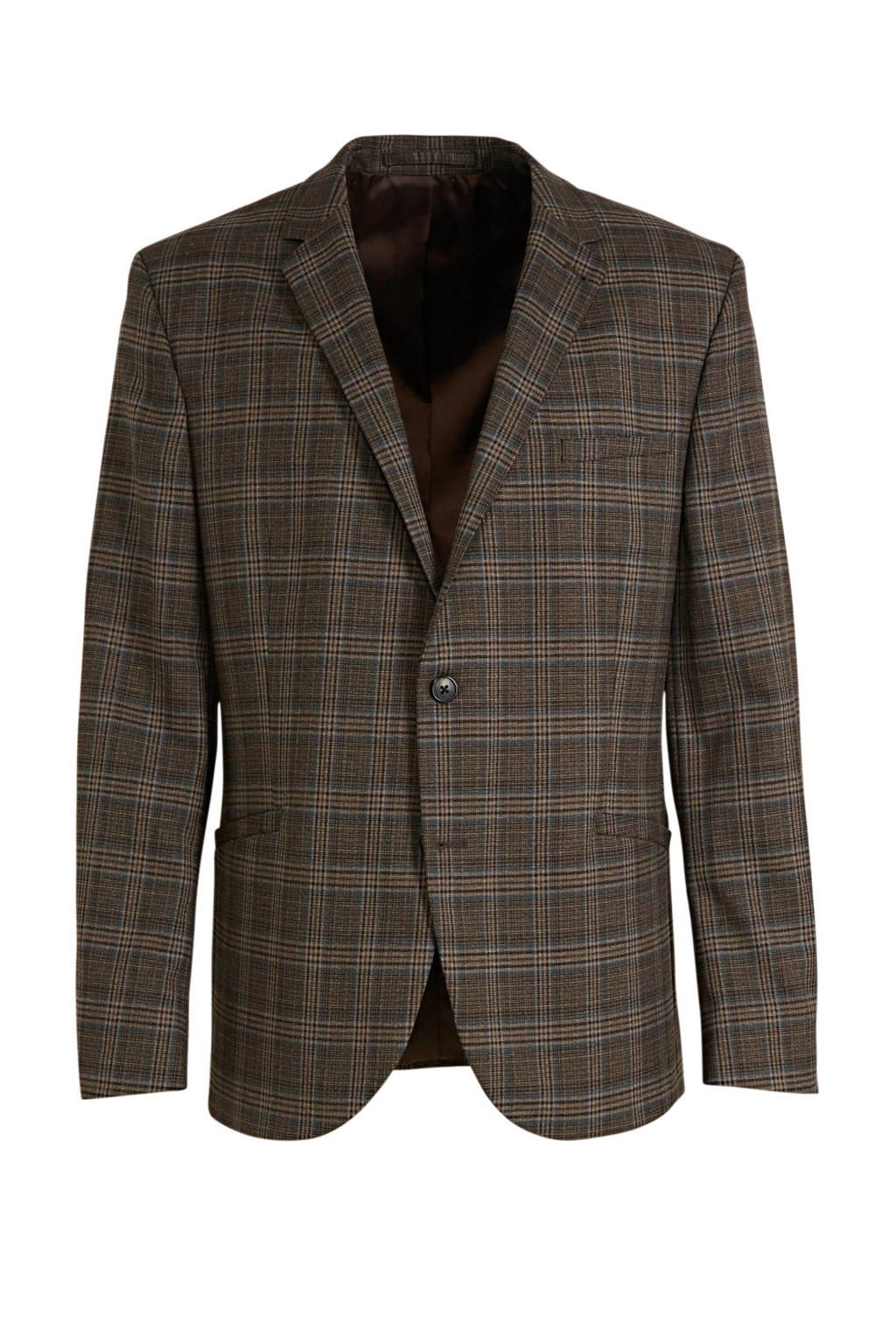 C&A Angelo Litrico geruit slim fit colbert donkerbruin, Donkerbruin