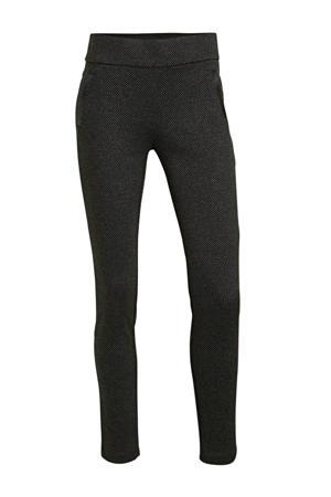 skinny broek met all over print zwart