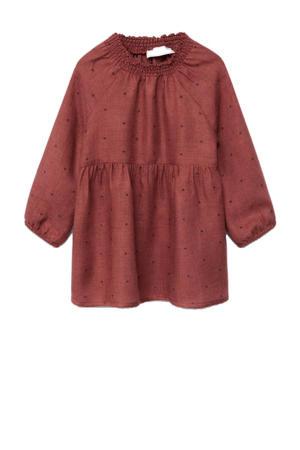jurk met stippen donkerrood