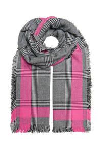 ONLY geruite sjaal grijs/roze, Grijs/roze