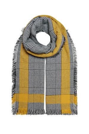 geruite sjaal grijs/okergeel