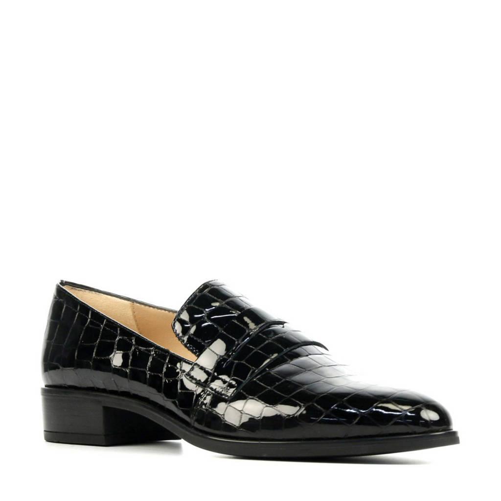 Unisa Barber  lakleren loafers met crocoprint zwart, Zwart