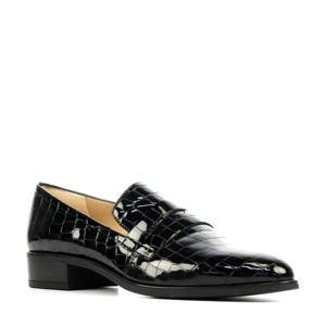 Barber  lakleren loafers met crocoprint zwart